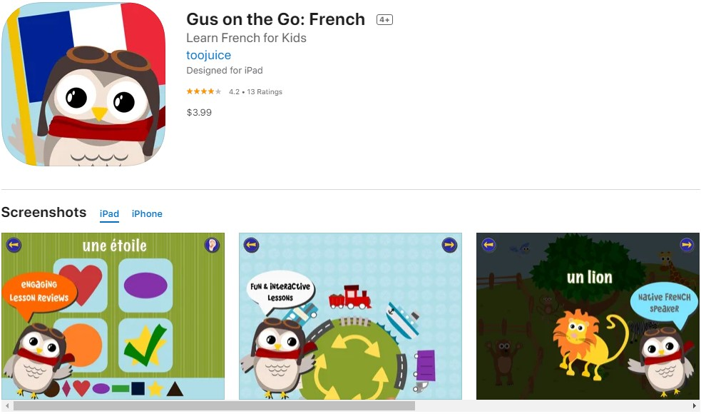 Gus on the go: French